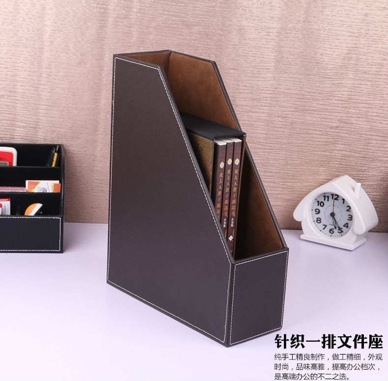 Office & School Supplies Lovely 2-grid A4 Wooden Leather Office Desktop File Book Magazine Stand Rack Holder Table Document Filing Box Organizer Brown
