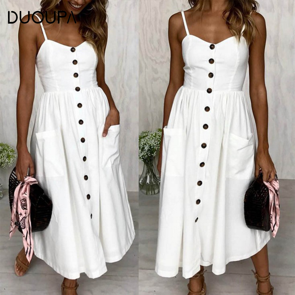 DUOUPA 2019 Latest Fashion Bow Backless Printed Floral Beach Summer Womens Cotton Dress Vestidos