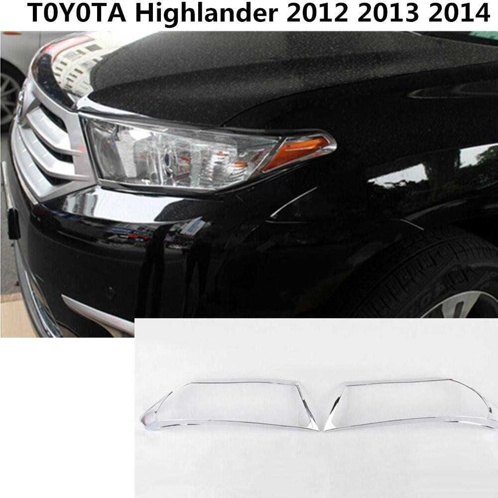 Car body front head Light lamp hood Molding detector frame stick ABS Chrome trim parts 2pcs For Toyota Highlander 2012-2014