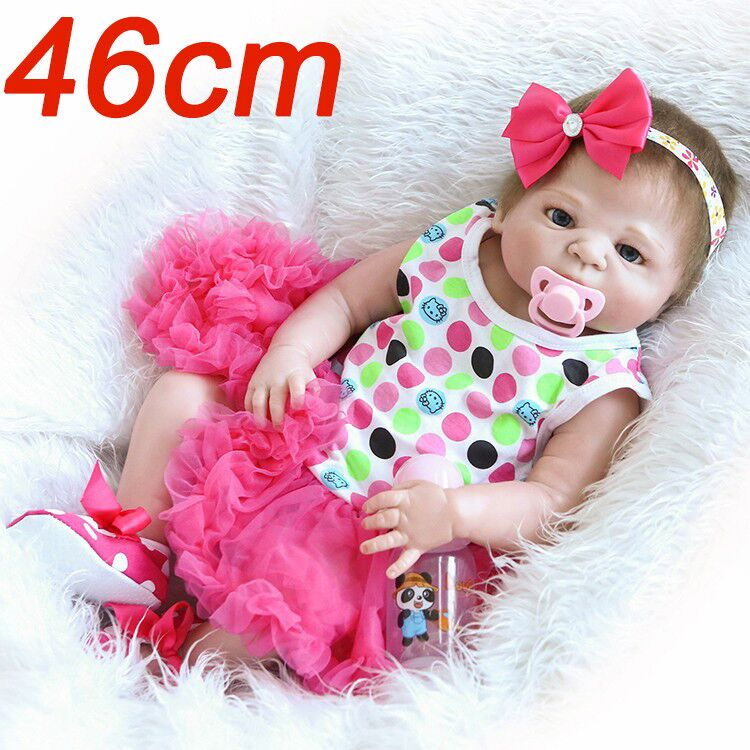 46cm Full Silicone Doll Reborn Baby 18inch lifelike realistic bathe doll Child Bedtime Early Education doll playmate toddlers image