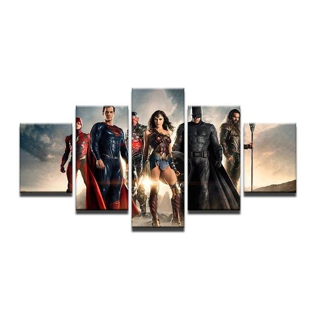 Canvas Home Decor Batman Paintings Wall Art 5 Pieces Justice League ...