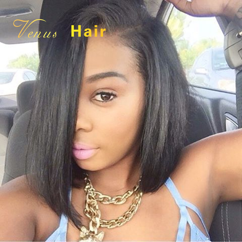 Hot Sale Lace Front Wig Bob Style Yaki Straight Human Hair Side Part