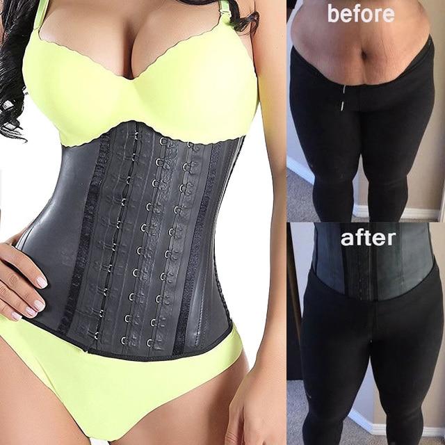 ee7efe2c66e Latex Rubber Waist Trainer Steel Boned Underbust Corset Weight Loss Waist  Body Shaper Plus Size Sexy