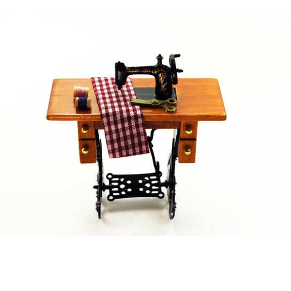 1:12 fonógrafo Vintage casa de muñecas miniatura Retro máquina de coser rebanadas de pan clásico juego de simulación para accesorios de decoración de casa de muñecas