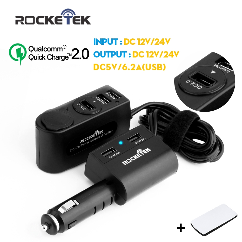 Rocketek Quick car charger 2 0 6 2A USB Adapte with 2 Cigarette Lighter car charger