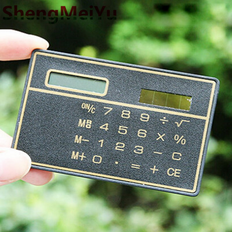 Slim Credit Card Solar Power Pocket Calculator Novelty Small Travel Compact CH