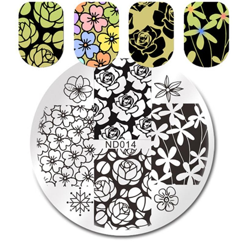 NICOLE DIARY Nail Art estampado placas imagen flores patrones de ...