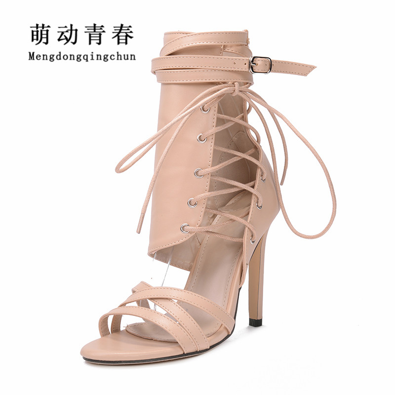 Fashion Women Pumps Gladiator Peep Toe Thin Heel Summer Women High Heels Shoes Casual Lace Up Ankle Strap Women Pumps Lahore