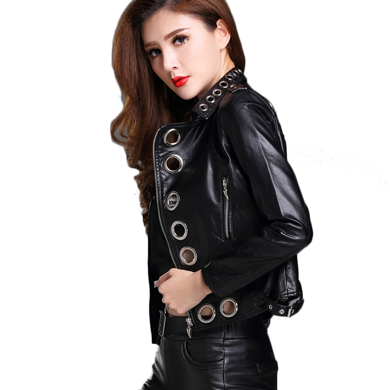 women's   leather   jacket Spring Women's Short   Leather   Jacket Fashion PU   leather   Moto Outerwear Hollow Out Rivet Short Jacket Tops