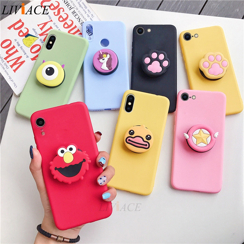 3D silicone cartoon phone holder case for iphone x xr xs max 6 7 8 plus 6s 5s se cute stand back cover coque fundas クリア バック ショルダー 大人