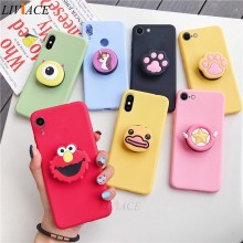 3D Silikon Kartun Ponsel Pemegang Case untuk iPhone X XR X Max 6 7 8 PLUS 6 S 5 S SE Lucu Stand Back Cover Coque Fundas(China)