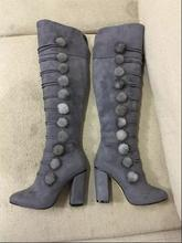 Suede women knee-high boots high thick heels round toe narrow band pom pom bubbles shoes women grey fashion boots Winter boots