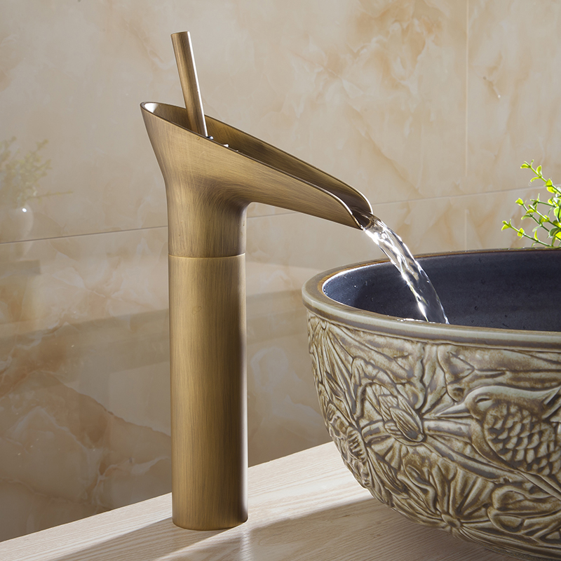 Basin Faucets Waterfall Bathroom Golden Faucet Single Handle Vanity Sink Mixer Tap Deck Mounted Bathroom Torneiras AL-9207K newly single handle single hole bathroom waterfall basin sink faucet led light changing mixer tap chrome finish deck mounted