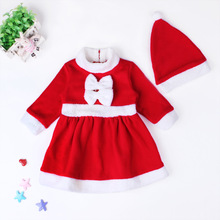 New 2017 Christmas Baby Girl Clothes Sets Warm Red Girls Dress And Hats 2pcs/lot Long Sleeve Children Clothing Roupa Infantil