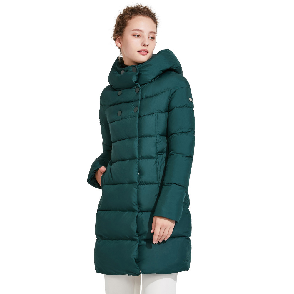 ICEbear 2018 Winter Coat Women Mid-Long Two-Way Placket Zipper Fashion Clothing Coats Simple Handsome  Women Jacket 16G6128D new arrival fashion winter fur hooded collar long sleeves camouflage plus size mix colors thicken down jackets women coat h5778