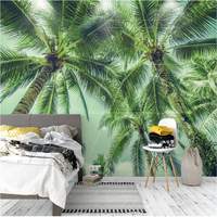 Classic Beach Green Wallpaper Coconut Palm Trees Bedroom Dining Room Living Room With A Nonwoven Wall