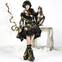 Punk Lolita Fashion Girls Lovely Pretty Princess Kimono Dress Japanese Style Women's Long Sleeve Cute Short Dress Suit Dresses