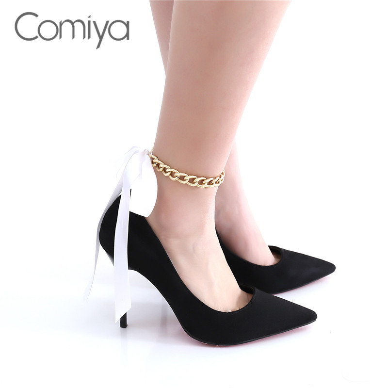 Comiya Aliexpress Anklets For Women Zinc Alloy Chains Pink Color Ribbon Decoration Elegant Accessories Anklet Jewelry Wholesale