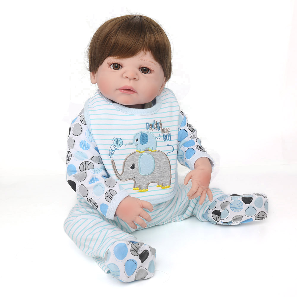 KAYDORA 22 inch 55cm Full Silicone Reborn Baby Dolls Vinyl Alive Lifelike Blonde/Brown Wig Realistic Babies Toys Birthday Gift