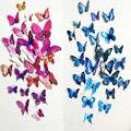 Envío gratis 12 unids PVC 3d Mariposa decoración de la pared lindo Mariposas pegatinas de pared adhesivos Decoración Del hogar