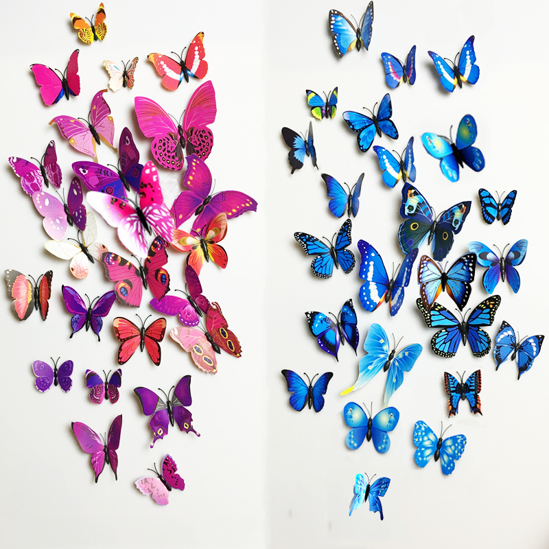 Free Transport 12Pcs Pvc 3D Butterfly Wall Decor Cute Butterflies Wall Stickers Artwork Decals House Ornament Room Wall Artwork