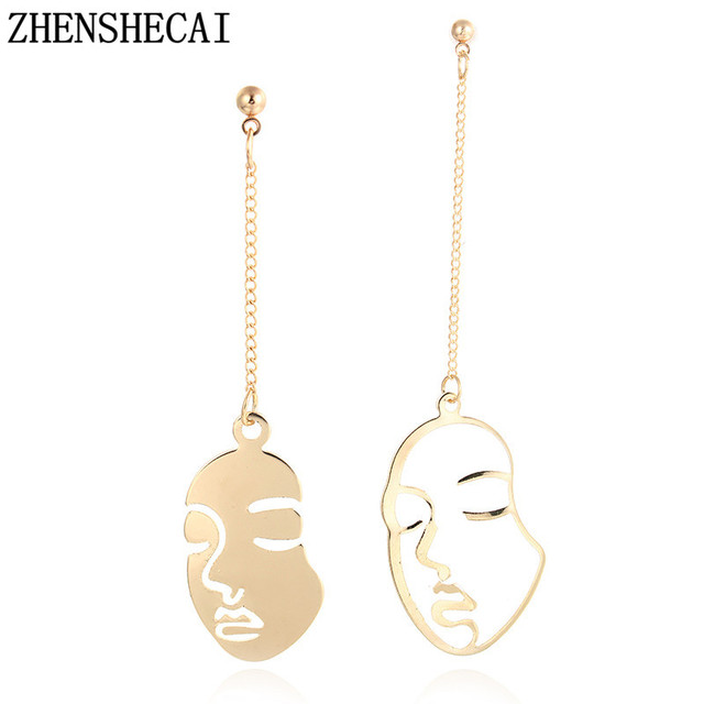 2017 New fashion Asymmetrical Gold face head design punk drop earring gift for w