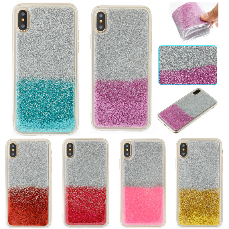 Fashion Case For iphone X Gradient Color Glitter 8 plus 8+ Soft Silicone Cover for 7