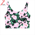 2017 summer women sexy harajuku flower print short slim sexy stretchy camisole pink and yellow color