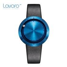 LAVARO Men Women Dress Watches Top Brand Luxury Designer Lover's Quartz Wrist Watch With Deep Blue Face Black Genuine Leather