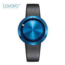 LAVARO Men Women Dress Watches Top Brand Luxury Designer Lover's Quartz Wrist Watch With Deep Blue Face Black Genuine Leather