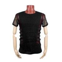 Punk Rave Fashion personality punk style Man T shirt black knitted T shirt T 313