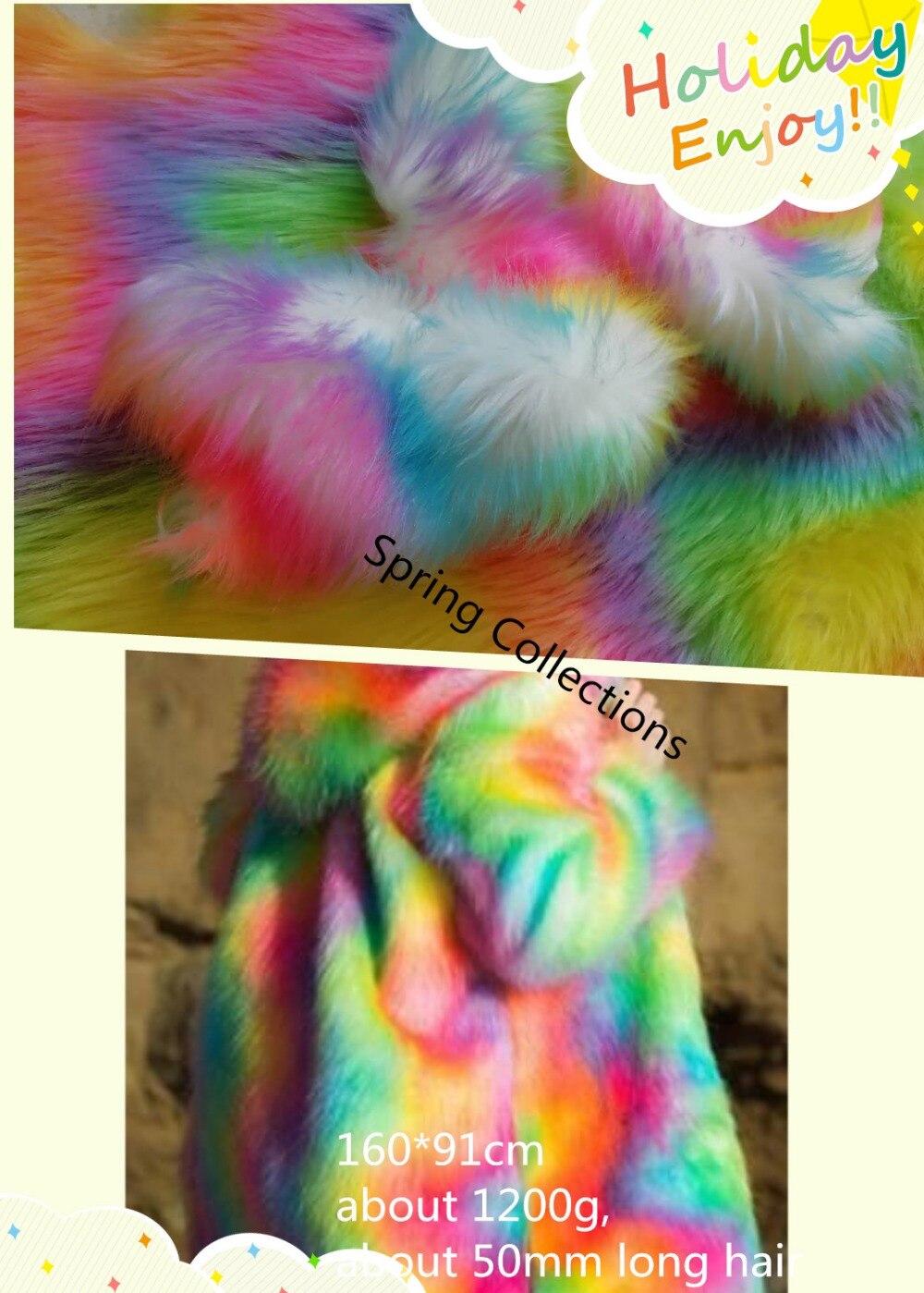 160cm 91cm Multicolor plush fabric fox fur Plush carpet mats fabric DIY handmade faux fur fabric