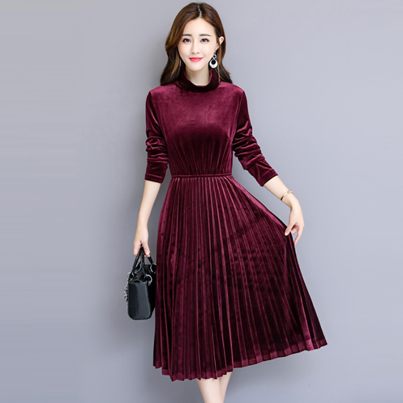 Autumn and winter new retro turtleneck velvet dress long-sleeved pleated dress  women clothes 2018 Warm leisure office lady