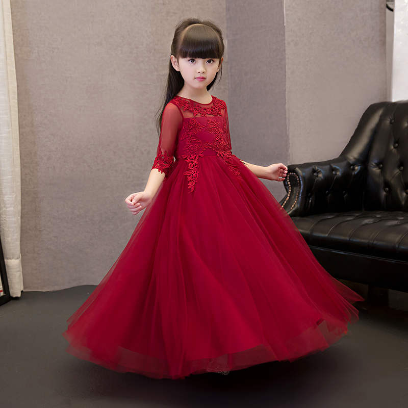 Wine Red Prom Party Baby Girls Dress Elegant Lace Up Embroidery Hollow Out Kids Girls Dress Flower Girls Dress For Wedding P02 wine red lace up details off shoulder lantern sleeves mini dress