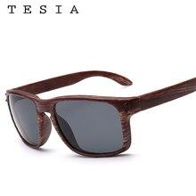 TESIA Brand Designer Wood Sunglasses Men Women Outdoors Glasses Mirrored Square Oculos De Sol UV400 Wooden Eyewear T709