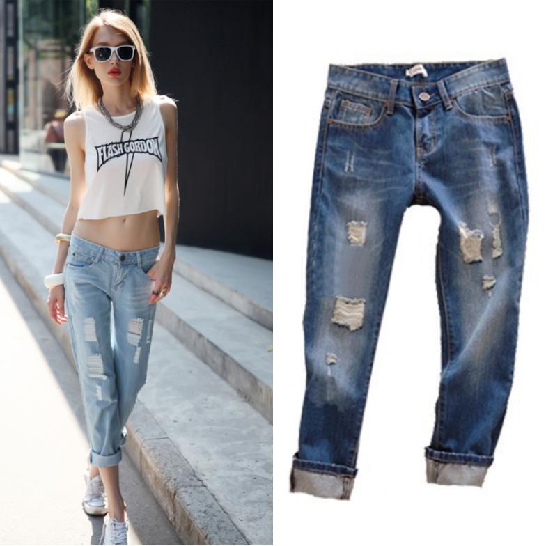 03449e635e3 2016 Fashion Summer Jeans Woman Wearing White Retro Hole Women Jeans Casual  Ripped Jeans For Women Plus Size Roll Up Women Jeans en Pantalones vaqueros  de ...