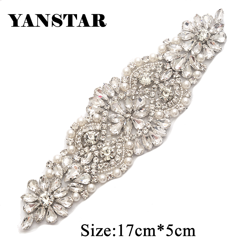 YANSTAR (5PCS) Hand Rhinestones Appliques For DIY Wedding Belt Rose Gold  Silver Sewing On Rhinestone Applique YS849-in Rhinestones from Home   Garden  on ... e4f10d52aaee