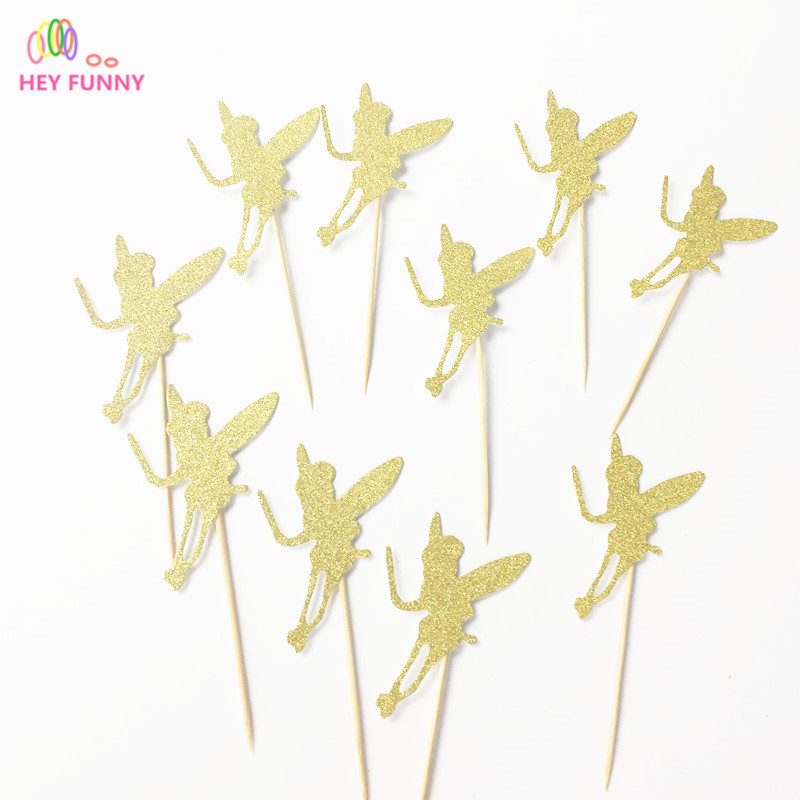 HEY FUNNY 20pcs Glitter Gold Fairy Wizard Cup Cake Topper Souvenirs Birthday Party Decoration DIY Wrapper Baby Shower