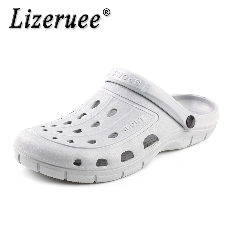 Lizeruee Summer EVA Clogs Men Slip On Garden Slippers Mens Beach Sandals Outdoor Zuecos Men Slippers Sandalias Mule Clog Shoes
