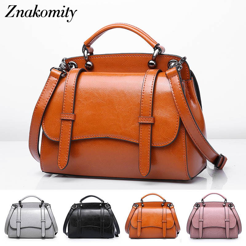 Znakomity Small Real Cow Leather vintage women handbags Female genuine leather shoulder messenger bags brown Retro crossbody bag