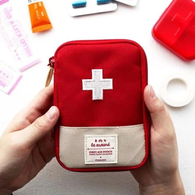 Função portátil kit de primeiros socorros acessórios de viagem de emergência tecido algodão primeiros socorros saco de medicina caso pílula divisores caixa
