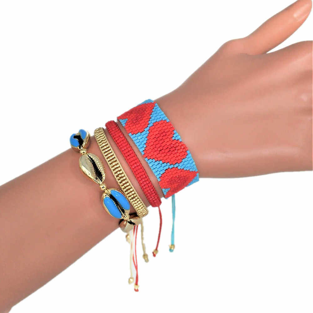 Boho צמידי לנשים TIla חרוזים צמיד בוהמי אדום לב כחול פגז זהב חרוזים 2019 קיץ קריסטל תכשיטים בעבודת יד מתנה