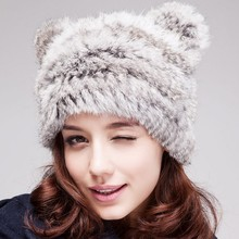 Lady's Genuine Knitted Rabbit Fur Hat headdress Warm Cap with bear bears ,rabbit fur hat with cute cat bears accessories