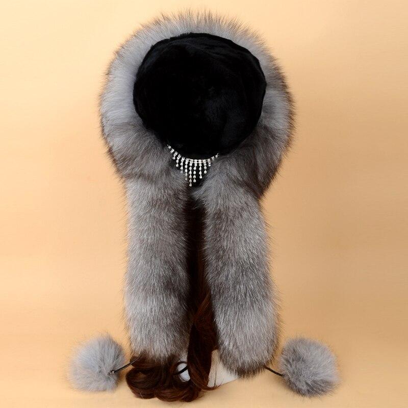 Chapeau de fourrure russe renard fourrure chapeau Skullies bonnets adulte hiver chapeau femmes spécial mode Style boule décoration 2017 nouveau SF13060 16 - 2