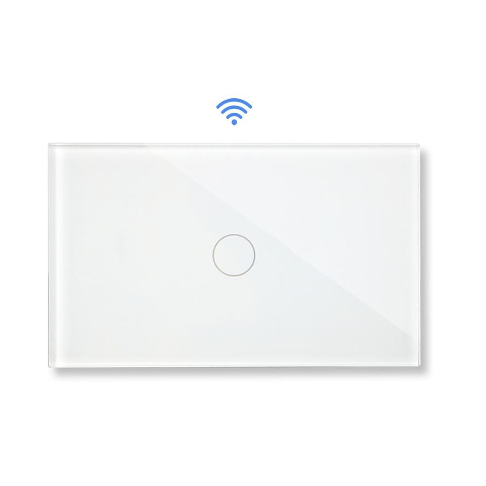 Bingoelec Remote Wireless Touch Switch US/AU Standard 1 Gang 2 Way RF 433.92 MHZ Crystal Glass Panel Sensor Light Wall Switch