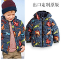 A67-2-75 Wholesale New 2014 Winter Brands Boys Jackets Worm Fleece Printing Dinosaur Hooded Boys Coats Casual Kids Clothing