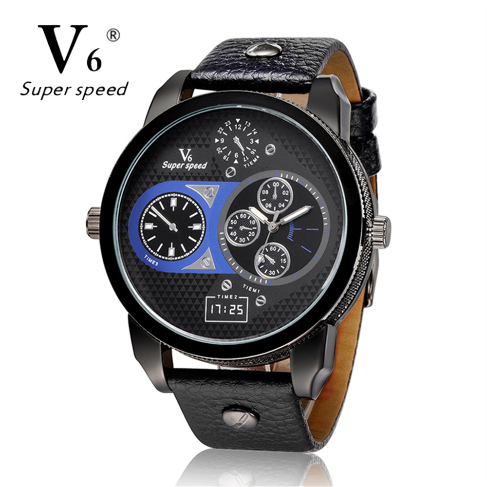V6 Luxury Sports Clock Ultra Big Dial Quartz Watch Men Dress Vintage Leather Band Male Military Watches Gift relogio masculino clot big dial quartz watch with leather band for men