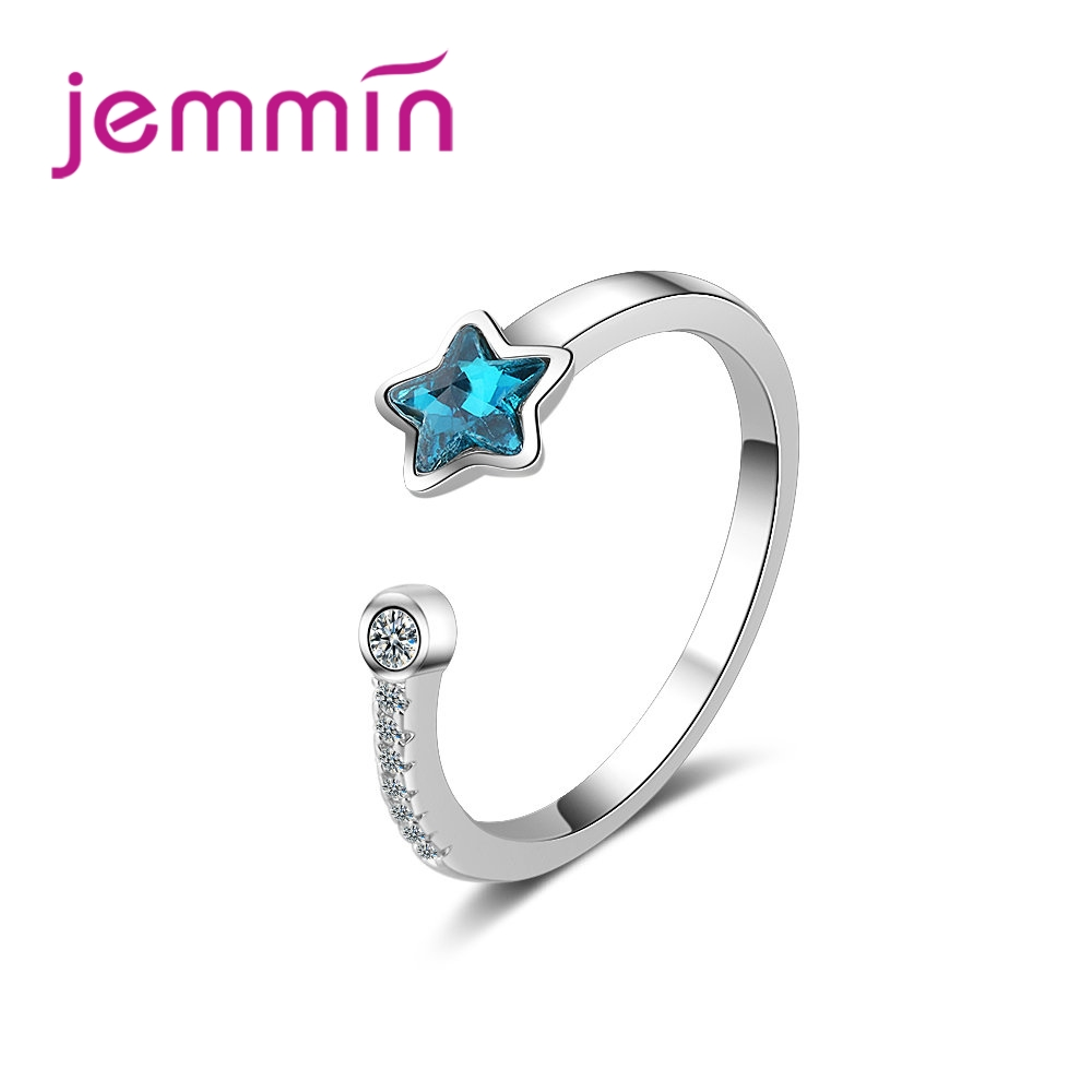JEMMIN Vintage High Quality Blue Star Design Shiny CZ Crystal Woman Trendy Anniversary Gift 925 Sterling Silver Opening Ring