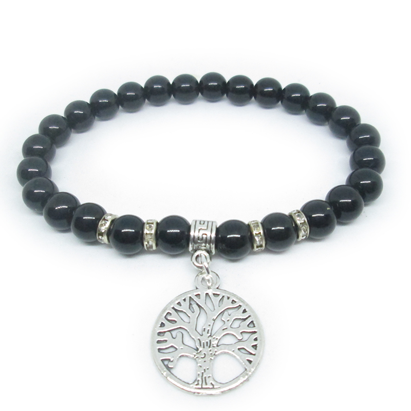 Tree Of Life Bracelet Hollow Leaf Metal Pendant Crystal Spacer Luxury Jewelry Fashion Braslet Trendy For Men Cuff Wrist Band