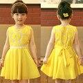Retail nuevo 2015 summer girls gasa vestidos de los niños ropa girasol bebé niña de princesa tutu dress vestidos infantil